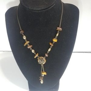 Y Shaped Necklace Tiger Eye Chips Floral Pendant C